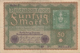 50 REICHSMARK Banknote 1919, Gute Erhaltung, Gefaltet - 1918-1933: Weimarer Republik