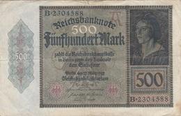 500 MARK Reichsbanknote 1922, Gebrauchsspuren, Gefaltet - 1918-1933: Weimarer Republik