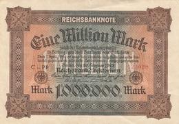 1.000.000 (Million) MARK Reichsbanknote 1923, Einseitig Bedruckt, Gute Erhaltung, Gefaltet - 1918-1933: Weimarer Republik