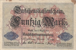 50 MARK Darlehenskassenschein 1914, Umlaufschein, Gebrauchsspuren, Gefaltet - 50 Mark