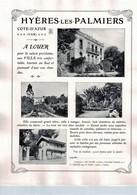 Affiche Cartonnée Hyères-les-Palmiers à Louer (début Du XXème Siècle) Var - France ( Carton ~ 28 X 22 Cm) - Posters