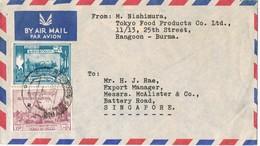 29346. Carta Aerea RANGOON (Burma) Birmania  1955 To Singapoore - Myanmar (Burma 1948-...)