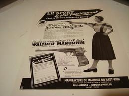 ANCIENNE AFFICHE PUBLICITE PISTOLET WALTER MANURHIN   1954 - Sports