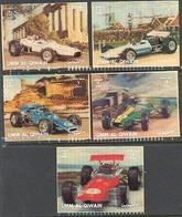 Umm Al Qiwain 1371-1375 Formula One Race Cars, Lenticular 3d, Neuf** Sans Charniere, Mint NH, Complete Set Of 5 - Umm Al-Qiwain