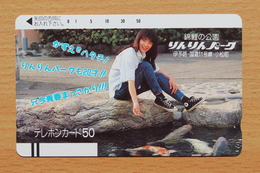 Japon Japan Free Front Bar Balken Phonecard (E) - / 330-5937 / Koi / Lady Woman Girl - Poissons