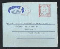 Hong Kong China 1970 Meter Mark Air Mail Postal Used Cover Hong Kong To Pakistan - Other