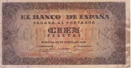 BILLETE DE ESPAÑA DE 100 PTAS 20/05/1938 SERIE G  EN CALIDAD BC (BANK NOTE) (manchas) - 100 Pesetas