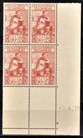 FRANCE 1939 - BLOC DE 4 TP NEUF** Y.T. N° 428 - COIN DE FEUILLE / DATE - 1930-1939