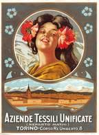 """0188 """"TORINO - AZIENDE TESSILI UNIFICATE - REPARTO MATHI"""" FIGURA FEMMINILE.VEDUTA TORINO- PUBBLICITARIO - Publicidad"""