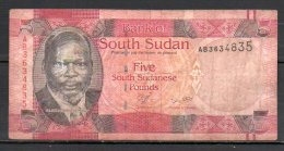 Soudan Du Sud Billet De 5 Pounds AB363 - Soudan Du Sud