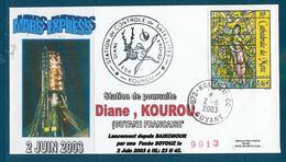ESPACE - 2003/06 -  Sonde MARS EXPRESS - Lancement Depuis Baïkonour - CSG - 2 Documents - FDC & Commémoratifs