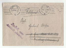 1944 FELDPOST 'Zuruck Neue Anschrift Abwarten' Hamburg To Bat 356 PRASCHNITZ Poland Germany Forces Cover - Germany