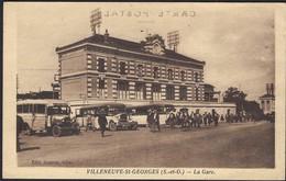 Villeneuve-St.Georges (S.-et-O.) - La Gare, 3 Anciens Autobus Bien Animée (2scans) - Bahnhöfe Ohne Züge