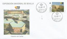 "SPAIN. COVER EXPO'92 SEVILLA. CARIBBEAN PAVILION. ""TU SELLO"" - 1931-Hoy: 2ª República - ... Juan Carlos I"