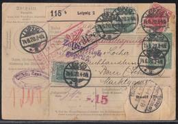 DR Paketkarte Mif Minr.85II,86II,92II,3x 104,6x 113,114 Leipzig 14.6.20 Gel. In Schweiz - Deutschland