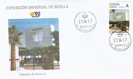 "SPAIN. COVER EXPO'92 SEVILLA. ROMANIA PAVILION. ""TU SELLO"" - 1931-Hoy: 2ª República - ... Juan Carlos I"