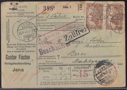 DR Paketkarte Mef Minr.8x 114 Jena 26.6.20 Gel. In Schweiz - Deutschland