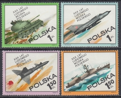 Poland 1973 - The 30th Anniversary Of The Polish People's Army: Tank, Fighter Plane, Rocket, Etc. - Mi 2275-2278 ** MNH - Militaria