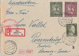 DR R-Brief Mif Minr.794,860,861 Plan (b. Marienbad) 1.11.43 Gel. In Schweiz Zensur - Deutschland