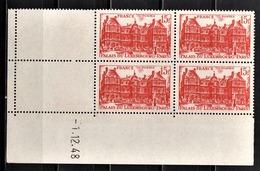 FRANCE 1948 - BLOC DE 4 TP  Y.T. N° 804 - COIN DE FEUILLE / DATE / NEUFS** - 1940-1949