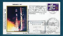 ESPACE - ARIANE Vol Du 1995/08 V76 - CNES - 3 Documents - FDC & Commémoratifs