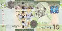 LIBYA 10 DINARS 2008 2009 P-73 SIG/7 BENGADARA UNC  */* - Libya