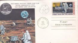APOLLO 11 NASA MANNED SPACECRAFT CENTER STAMP CLUB. SOBRE ENVELOPE 1970 USA- BLEUP - FDC & Gedenkmarken