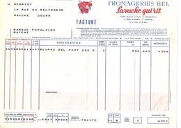 Lot De 2 Factures 1959 / PARIS / Fromageries BEL / La Vache Qui Rit - France