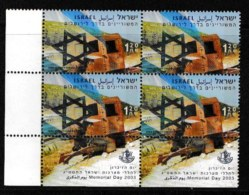 ISRAEL, 2003, Mint Never Hinged Stamp(s) In Blocks, Memorial Day, M1722,  Scan X852, With Tab(s) - Israel