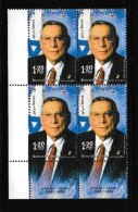 ISRAEL, 2002, Mint Never Hinged Stamp(s) In Blocks, Rechavam Ze'evy, M1700,  Scan X847, With Tab(s) - Israel
