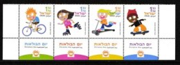 ISRAEL, 2003, Mint Never Hinged Stamp(s) In Strip, Children And Wheels,  Scan X861b, With Tab(s) - Israel