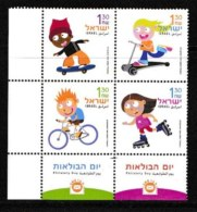 ISRAEL, 2003, Mint Never Hinged Stamp(s) In Blocks, Children And Wheels,  Scan X861a, With Tab(s) - Israel