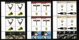 ISRAEL, 2002, Mint Never Hinged Stamp(s) In Blocks, Wine In Israel, M1694-1696,  Scan X846, With Tab(s) - Israel