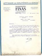 Facture Lettre 1943 / HAUTE SAVOIE / SAINT FELIX / Fromageries FINAS / Affinage De Gruyère - France