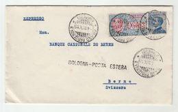 1915 EXPRESS Stamp COVER 'BOLOGNA POSTA ESTERA' Post Marking MILAN Italy To BERNE Switzerland - 1900-44 Vittorio Emanuele III