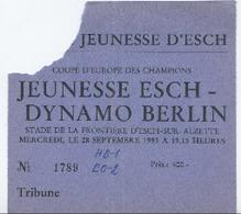 LUXEMBOURG - Football - Billet D'entrée - JEUNESSE ESCH - DYNAMO BERLIN 1983 - RARE - Soccer