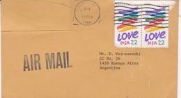 SOBRE ENVELOPE VIA AIR CIRCULEE FLUSHING NY TO BUENOS AIRES 1986 AVEC BORD DU PLAQUE- BLEUP - United States