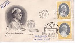 EUGENIO PACELLI, PIO XII. FDC SOBRE ENVELOPE BUENOS AIRES 1959- BLEUP - FDC