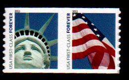 USA, 2011, Scott #4490-4491, Head Of Statue Of Liberty And Flag, Coil Pair,  Microprint 4EVR, MNH, VF - Unused Stamps