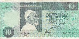 LIBYA 10 DINARS 1989 1990 P-56 SIG/3 RAJAB  PREFIX 30  VF */* - Libya