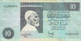 LIBYA 10 DINARS 1991 P-61b SIG/5 JIHIMI  PREFIX 179  VF/FINE  */* - Libya