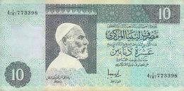LIBYA 10 DINARS 1991 P-61b SIG/5 JIHIMI  PREFIX 181  VF/FINE  */* - Libië