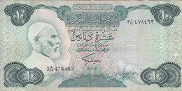LIBYA 10 DINARS 1984 P-51 SIG/2 MISLLATI PREFIX 24 VF  */* - Libye