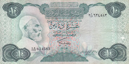 LIBYA 10 DINARS 1984 P-51 SIG/2 MISLLATI PREFIX 45 VF  */* - Libië