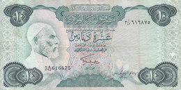 LIBYA 10 DINARS 1984 P-51 SIG/2 MISLLATI PREFIX 42 VF  */* - Libya