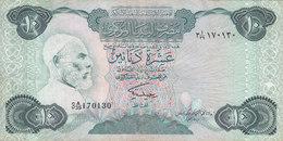 LIBYA 10 DINARS 1984 P-51 SIG/2 MISLLATI PREFIX 39 VF  */* - Libya