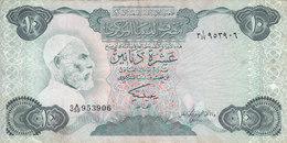 LIBYA 10 DINARS 1984 P-51 SIG/2 MISLLATI PREFIX 59 VF  */* - Libya