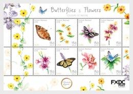 H01 Caribbean Netherlands 2018 Butterflies Flowers Saba MNH Postfrisch - Niederländische Antillen, Curaçao, Aruba