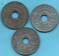 FRANCE Les 3 Types A+b+c 10 Centimes 1941   Lindauer ZINC - France