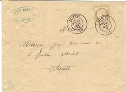 1876- Enveloppe De SAINTES Pour Saintes Affr. N°59 Oblit. Cad T17 - Courrier Local - Postmark Collection (Covers)